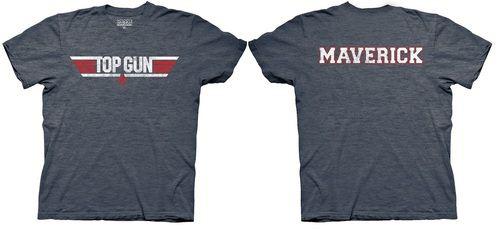 Top Gun Logo and Maverick Name Adult Heather Navy T-Shirt