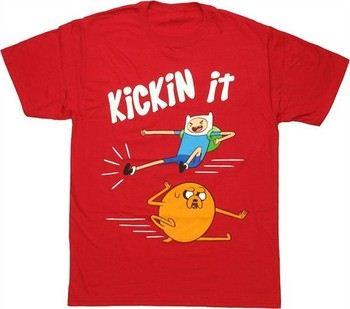 Adventure Time Kickin' It Finn Left Jake Right T-Shirt
