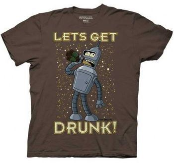 Futurama Lets Get Drunk! Bender Chocolate Brown Adult T-shirt