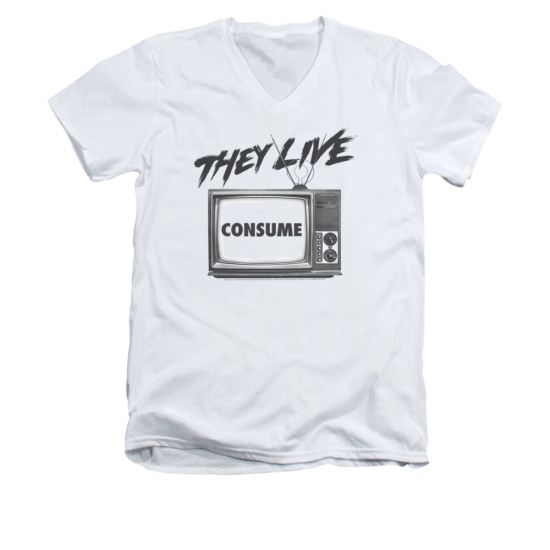 They Live Shirt Slim Fit V Neck Consume White Tee T-Shirt
