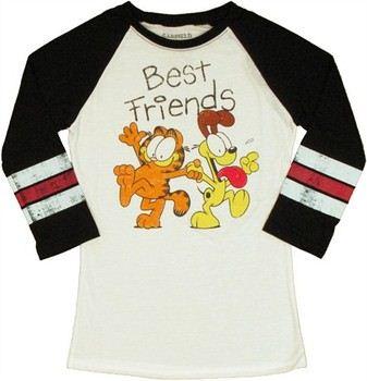 Garfield Odie Best Friends Raglan Sleeve Baby Doll Tee